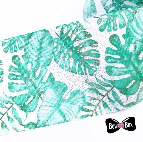 Tropical Leaves Glitter Grosgrain Ribbon 3''