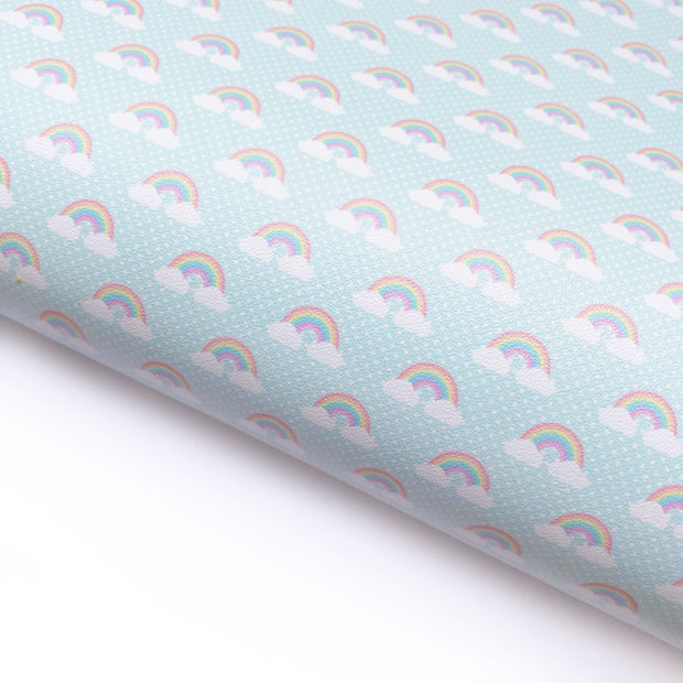 Mint Rainbows Faux Leather Fabric Sheets