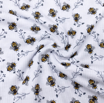 Busy Bees Premium Stretch Ribbed Knit Fabric