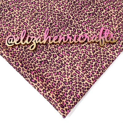 EHC Brown & Pink Leopard Print Bullet Fabric
