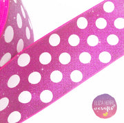 Polka dot spotty Glitter Grosgrain Ribbons 3''
