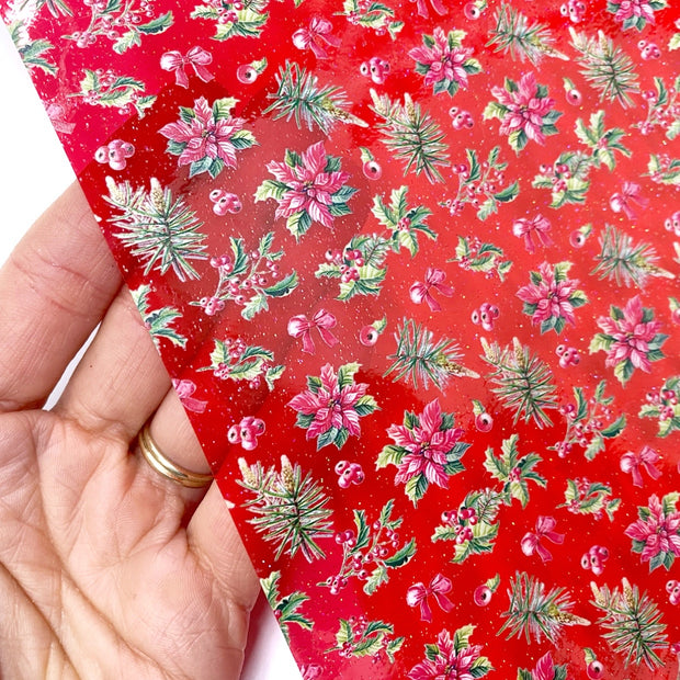 Red Poinsettia & Bows Glitter Coloured Transparent Vinyl Fabric Sheets