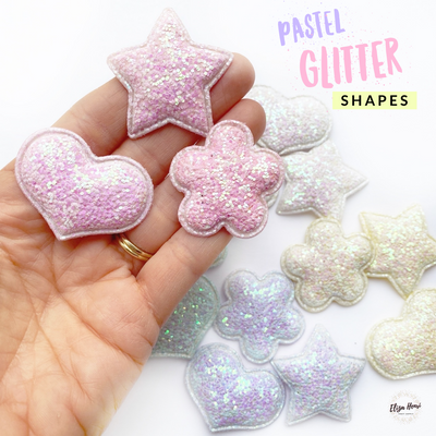 Pastel Padded Glitter Shapes