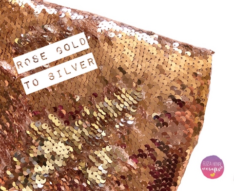 Rose Gold Dreaming Rose Gold to Silver Colour change Mermaid reversible Sequin Fabric Felt