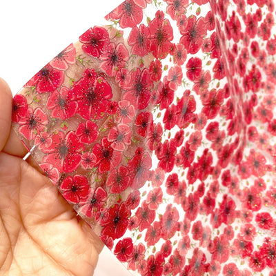 Sparkle Poppy Fields Glittery Transparent Fabric Sheets