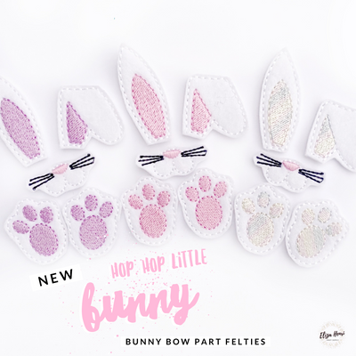 Bunny Features Bow Parts Ears, Nose & Paws Felties
