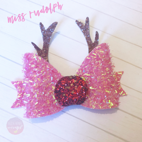 Miss Rudolph Reindeer Antler Bow Template
