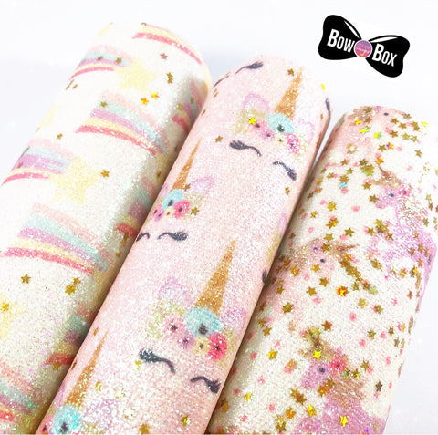 Exclusive Starry Unicorns Fine Glitter Fabric Collection