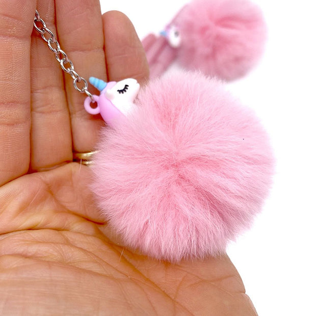 Fluffy Unicorn Pens with detachable keyring