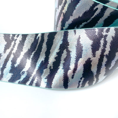 Zebra Mint Foil Grosgrain Ribbon 3''