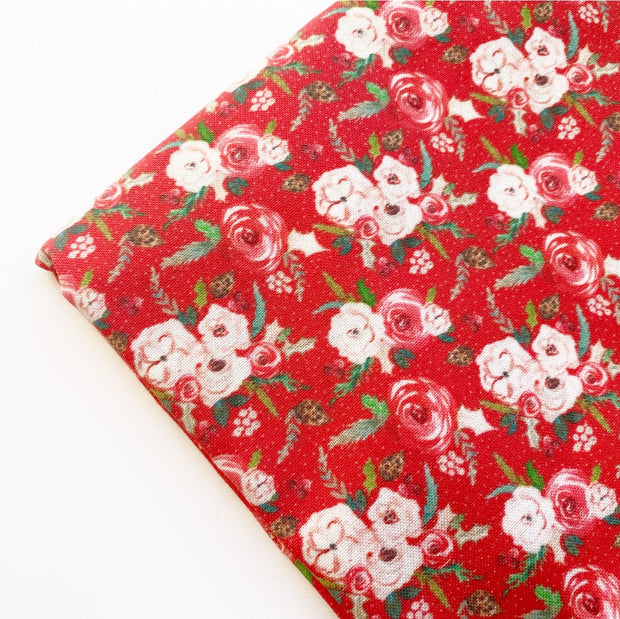 Traditional Christmas Floral Red Artisan Fabric Felt