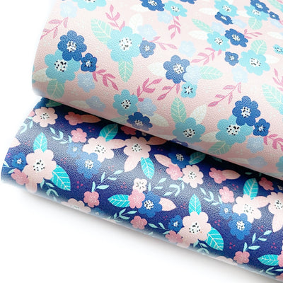 Spring Floral Faux Leather Fabric Sheets