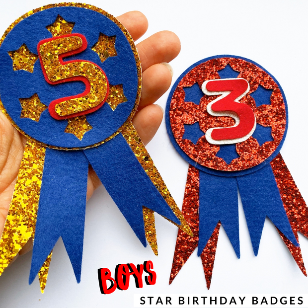 Star Birthday Badge Plastic Template for Handcutting