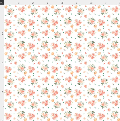 EHC Peach Floral Bloom Artisan Fabric Felt