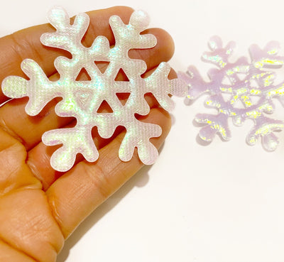 Double Sided Iridescent Fabric Snowflakes 6.3 cm