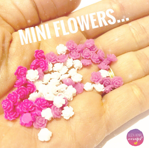 Mini Floral Flat back Charm Embellishments- Pack of 5