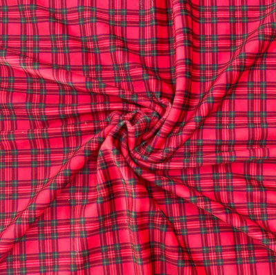 Traditional Tartan Premium Stretch Velvet Fabric