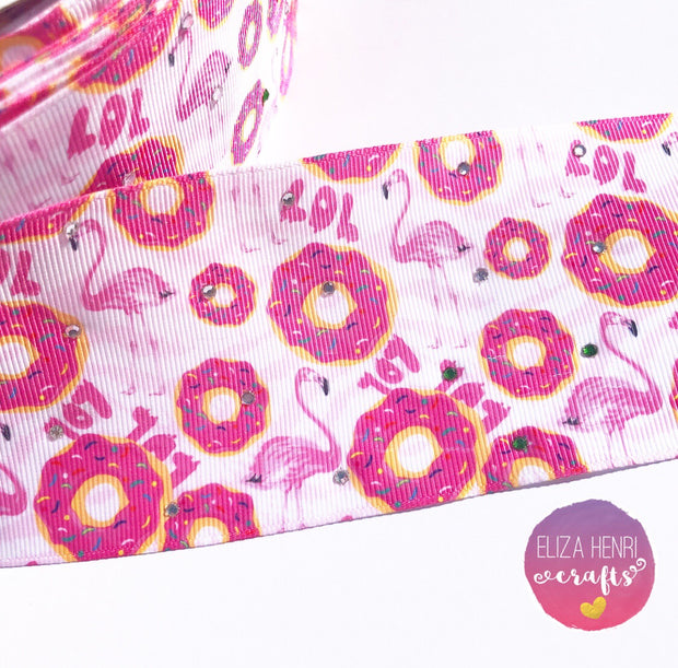 Diamonte Flamingo, Donuts, Lol Grosgrain Ribbon 3''