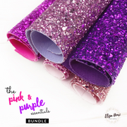 Pink & Purple Lux Premium Chunky Glitter Fabric Collection- 5 colours