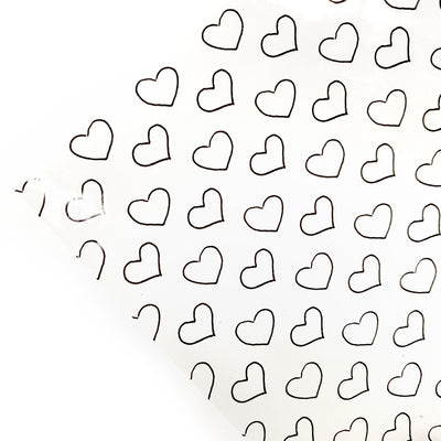 Monochrome Perfect Hearts Transparent Fabric Sheets