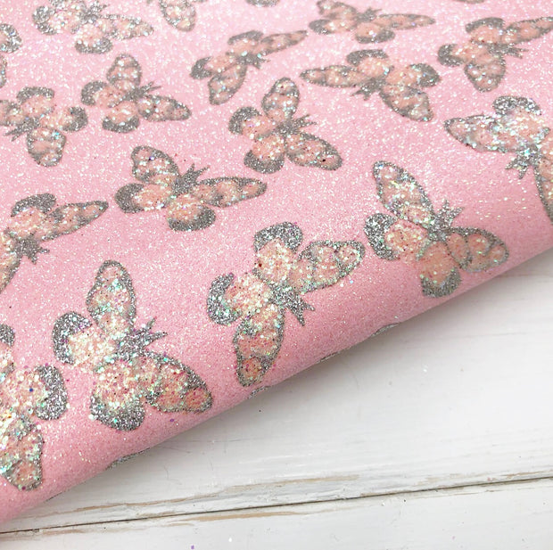 Pink Crystal Butterfly Fine Glitter Fabric