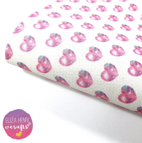 Pastel Unicorn Hearts Fine Glitter Fabric