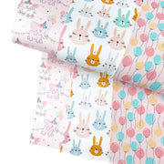 Some Bunnies Party Faux Leather Fabric Sheets