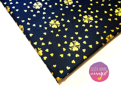 Black and Gold Metallic Hearts Designer Fabric Felt