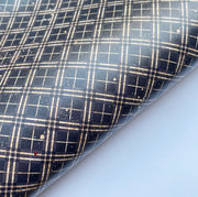 Black & Gold Tartan Smooth Faux Leather Fabric