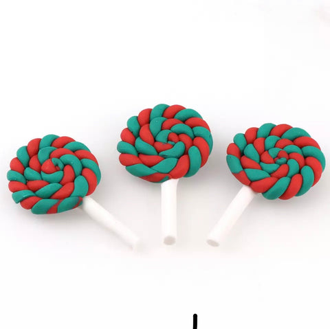 Retro Xmas Heart Lollipop Charm Embellishments