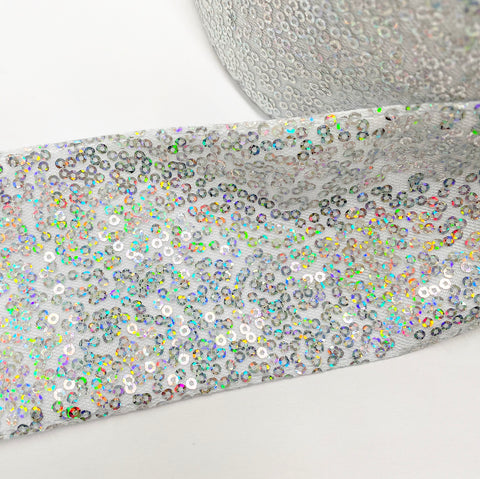 Frosty Silver Sequin Ribbon 3''