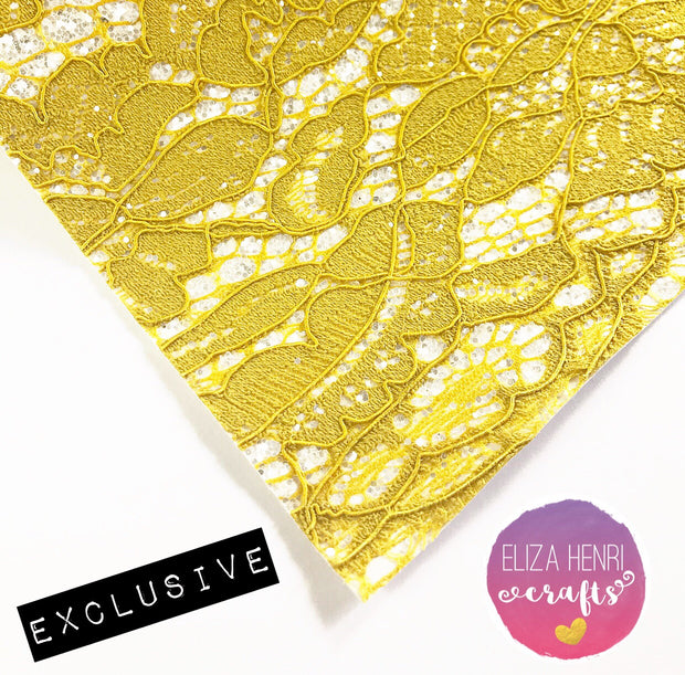 EXCLUSIVE Mustard and Pearly White Glitter Lace Fabric