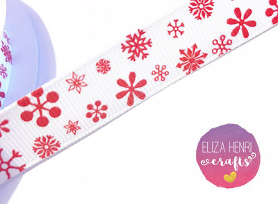 Red Snowflake Print 16 mm White grosgrain Ribbon