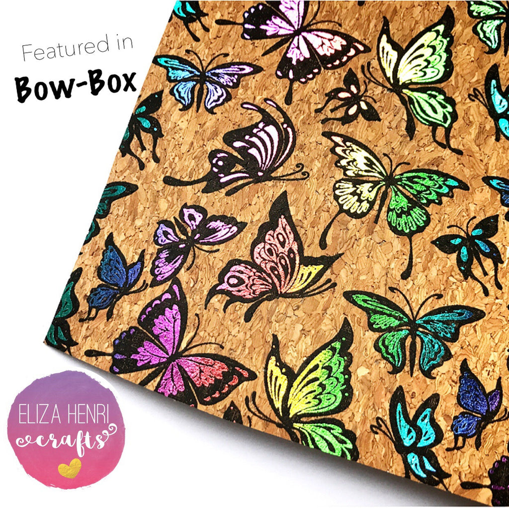 Rainbow Butterflies Cork Fabric- Featured in June Bow-Box