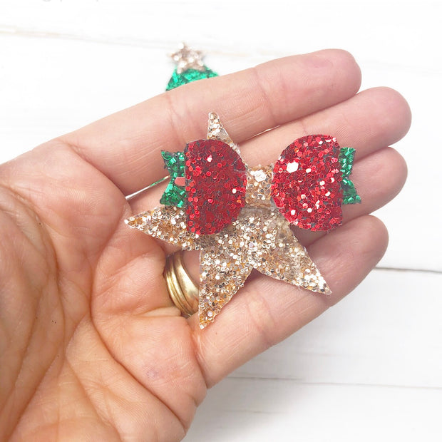 Cute Xmas Star Bow Template or Die Cutter