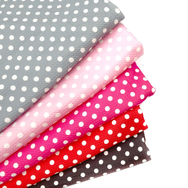 Hot Pink Polka Dot Print Bullet Fabric