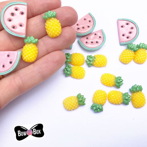 Tropical Pineapple and Watermelon Flat back Charm Embellishments