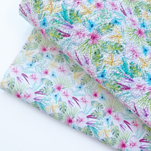 Beach Babe Floral Glitter or Faux Leather Fabric Sheets