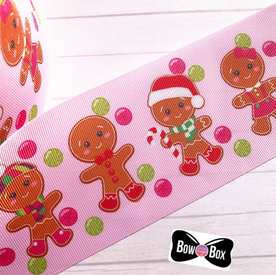 Pink Gingerbread Friends Grosgrain Ribbon 2'' or 3''