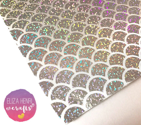 Silver Holographic Mermaid Scales Fabric Felt