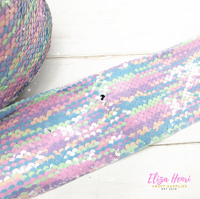 Pastel Rainbow Sequin Reversible Ribbon 3''