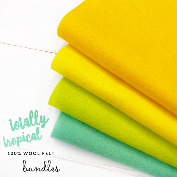 Totally Tropical 100% Wool Blend Felt Bundle