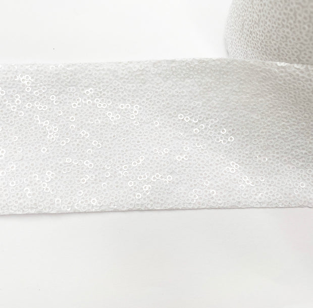 Snowy White Sequin Ribbon 3''