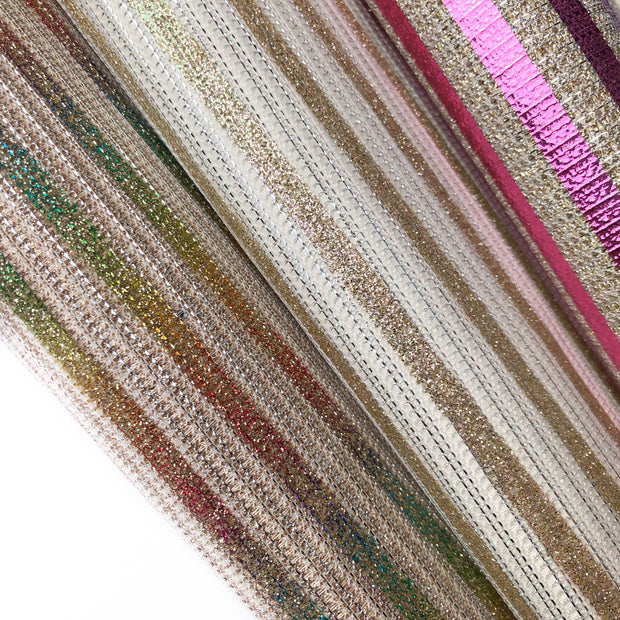 Perfect Pink Stripes Fine Glitter Fabric