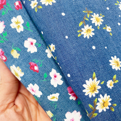 Denim Style Floral Fabric Felt
