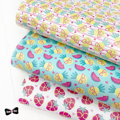Fruity Fun Faux Leather Fabric Sheets