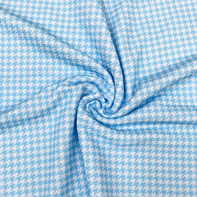 Baby Blue Hounds tooth Premium Print Bullet Fabric
