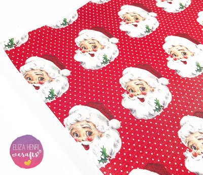 Santa Claus Is coming to Town Leatherette Fabric