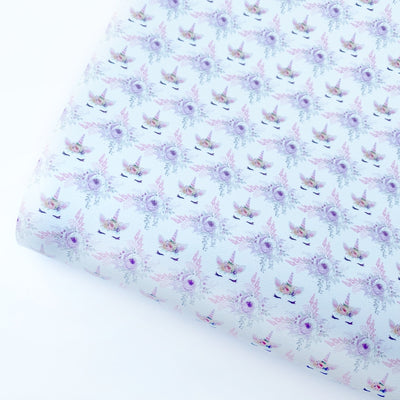 Lilac Unicorns in Spring Faux Leather Fabric Sheets