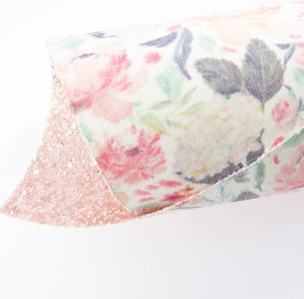 EHC Exclusive Double Sided Summer Floral Chunky Glitter Fabric